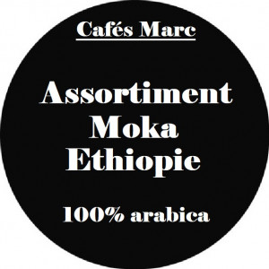 Assortiment café moka Ethiopie moulu piston