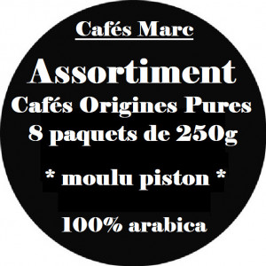 Assortiment cafés pure origines 100% arabica
