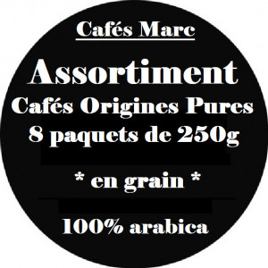 Assortiment cafés pure origines en grain